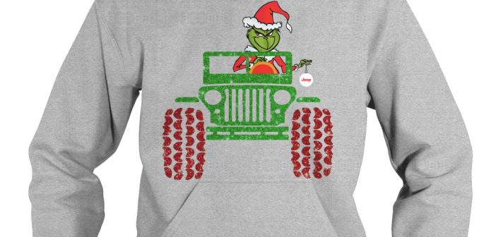 Merry Christmas Grinch driving jeep hoodie